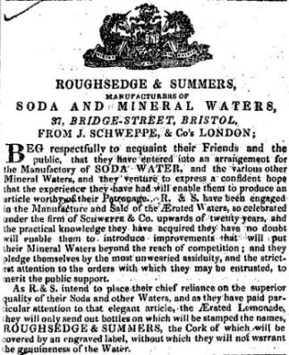 1835 Roughsedge & Summers advertisement from the Bristol Mercury